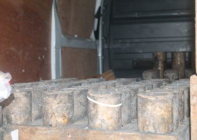 Cylinders used to hold the fireworks